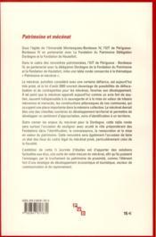 Patrimoine et mecenat - 4ème de couverture - Format classique