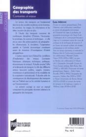 Géographie des transports ; contraintes et enjeux - 4ème de couverture - Format classique