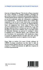 Projet sociologique de Zygmunt Bauman vers une approche critique de la postmodernité - Couverture - Format classique