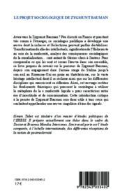 Projet sociologique de Zygmunt Bauman vers une approche critique de la postmodernité - 4ème de couverture - Format classique