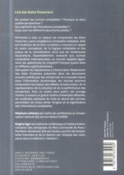 Lire les états financiers (3e édition) - 4ème de couverture - Format classique