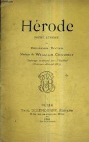 Herode Poeme Lyrique - Musique De William Chaumet. - Couverture - Format classique