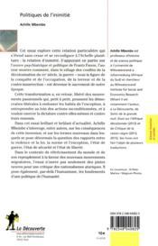 Politiques de l'inimitié - 4ème de couverture - Format classique