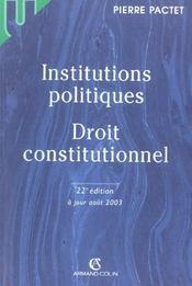 Institutions politiques, droit constitutionnel - Intérieur - Format classique