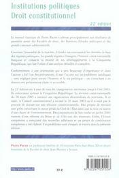 Institutions politiques, droit constitutionnel - 4ème de couverture - Format classique
