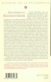 Platonisme et idealisme - 4ème de couverture - Format classique