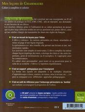 Mes leçons de grammaire ; cm2 ; cahier+cd - 4ème de couverture - Format classique
