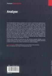 Analyse - 4ème de couverture - Format classique
