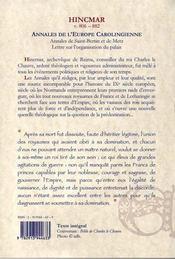 Annales de l'Europe carolingienne (840-903) - 4ème de couverture - Format classique