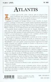 Revue Atlantis N.406 ; La Femme A L'Ere Du Verseau ; Les Pelasges: L'Héritage - 4ème de couverture - Format classique