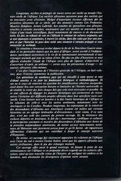 Histoire générale de l'Afrique t.1 ; méthodologie et préhistoire africaine - 4ème de couverture - Format classique