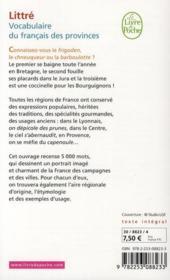 Le vocabulaire du français des provinces - 4ème de couverture - Format classique
