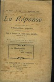 La Reponse. Revue Mensuelle D'Apologetique Populaire. N°184, 15 Avril 1923. Le Marechalat Et La Vie Future. - Couverture - Format classique