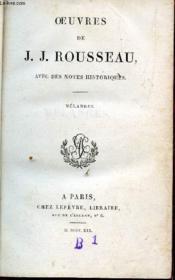 Oeuvres De J.J. Rousseau - Tome Xii / Melanges (Avec Des Notes Historiques). - Couverture - Format classique