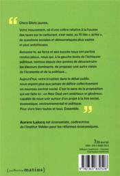 Lettre aux gilets jaunes ; pour un new deal vert - 4ème de couverture - Format classique