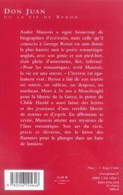 Don juan ou la vie de byron - (*) - 4ème de couverture - Format classique