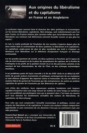 Aux origines du libéralisme et du capitalisme en France et en angleterre - 4ème de couverture - Format classique