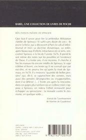 Refutation inedite de spinoza babel 368 - 4ème de couverture - Format classique
