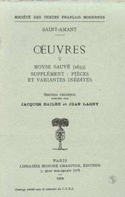 Oeuvres - tome v: moyse sauve, pieces et variantes inedites - Couverture - Format classique