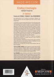 Vade-Mecum D'Endocrinologie Veterinaire (2e Edition) - 4ème de couverture - Format classique