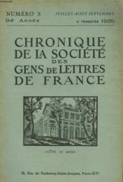 CHRONIQUE DE LA SOCIETE DES GENS DE LETTRES DE FRANCE N°3, 94e ANNEE ( 3e TRIMESTRE 1959) - Couverture - Format classique