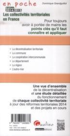 Les collectivités territoriales en France (édition 2014/2015) - 4ème de couverture - Format classique
