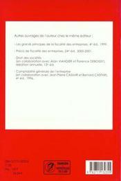 Exercices de fiscalite des entreprises 2000-2001 ; 13e edition - 4ème de couverture - Format classique