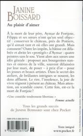 Au Plaisir D'Aimer - 4ème de couverture - Format classique