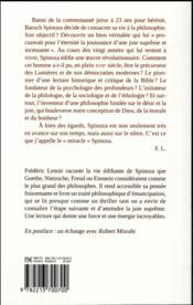 Le miracle Spinoza ; une philosophie pour éclairer notre vie - 4ème de couverture - Format classique
