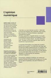 L'opinion numérique ; internet : un nouvel esprit public - 4ème de couverture - Format classique