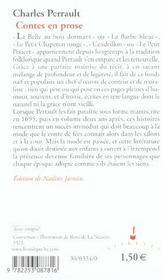 Contes en prose - 4ème de couverture - Format classique