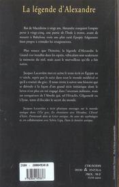 La Legende D'Alexandre - 4ème de couverture - Format classique