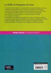 GUIDE BELIN DE L'ENSEIGNEMENT ; le CECRL et l'évaluation de l'oral ; A1, A2, B1, B2 - 4ème de couverture - Format classique
