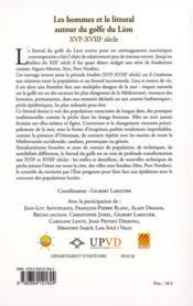 Hommes Et Le Littoral Du Golfe Du Lion Xvie Xviiie Siecle - 4ème de couverture - Format classique