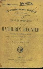 Oeuvres Completes De Mathurin Regnier. - Couverture - Format classique