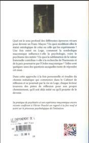 Le cheminement de l'apprenti franc-maçon - 4ème de couverture - Format classique