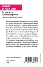 Les contes de Shakespeare - 4ème de couverture - Format classique