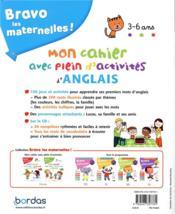 Bravo les maternelles ! ; mon cahier avec plein d'activités d'anglais ; 3/6 ans (édition 2019) - 4ème de couverture - Format classique