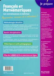 Je prépare ; CRPE ; français et mathématiques ; les connaissances à maîtriser (édition 2020/2021) - 4ème de couverture - Format classique