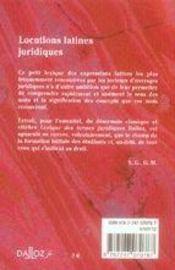 Locutions latines juridiques (2e édition) - 4ème de couverture - Format classique