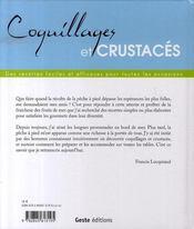 Coquillages et crustacés - 4ème de couverture - Format classique