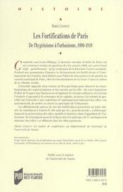 Fortifications de paris - 4ème de couverture - Format classique