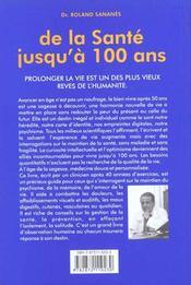 De la sante jusqu'a 100 ans - 4ème de couverture - Format classique