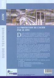 La protection de l'acier par le zinc. guide technique juin 2005 - 4ème de couverture - Format classique
