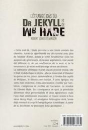 L'étrange cas du Dr Jekyll et de Mr Hyde - 4ème de couverture - Format classique