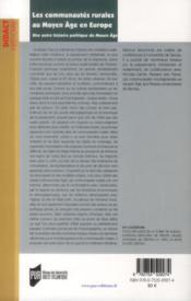 Les communautés rurales en Europe au Moyen Age ; une autre histoire politique du Moyen Age - 4ème de couverture - Format classique