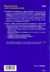 Droit Du Travail Et De La Securite Sociale - 4ème de couverture - Format classique