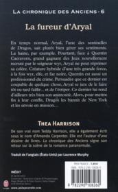 La chronique des anciens T.6 ; la fureur d'Aryal - 4ème de couverture - Format classique