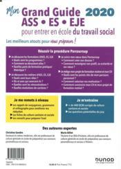 Mon grand guide pour entrer en école de travail social ; ASS, ES, EJE (édition 2020) - 4ème de couverture - Format classique