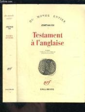 Testament à l'anglaise - Couverture - Format classique